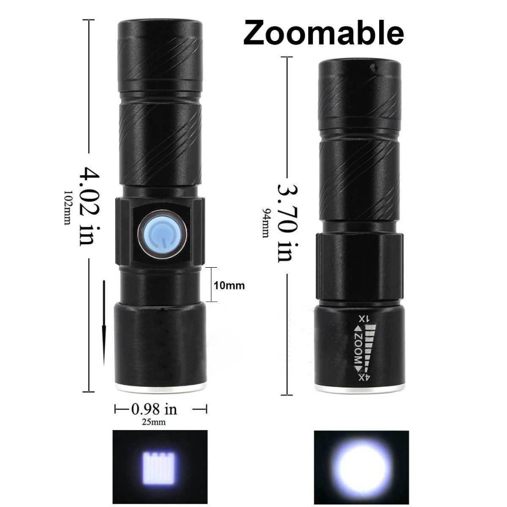 Image 4 - USB Rechargeable LED flashlight Handy Torch Light Hunting   for MTB Bike Bicycle Cycle Head Front Light Camping-in LED Flashlights from Lights & Lighting