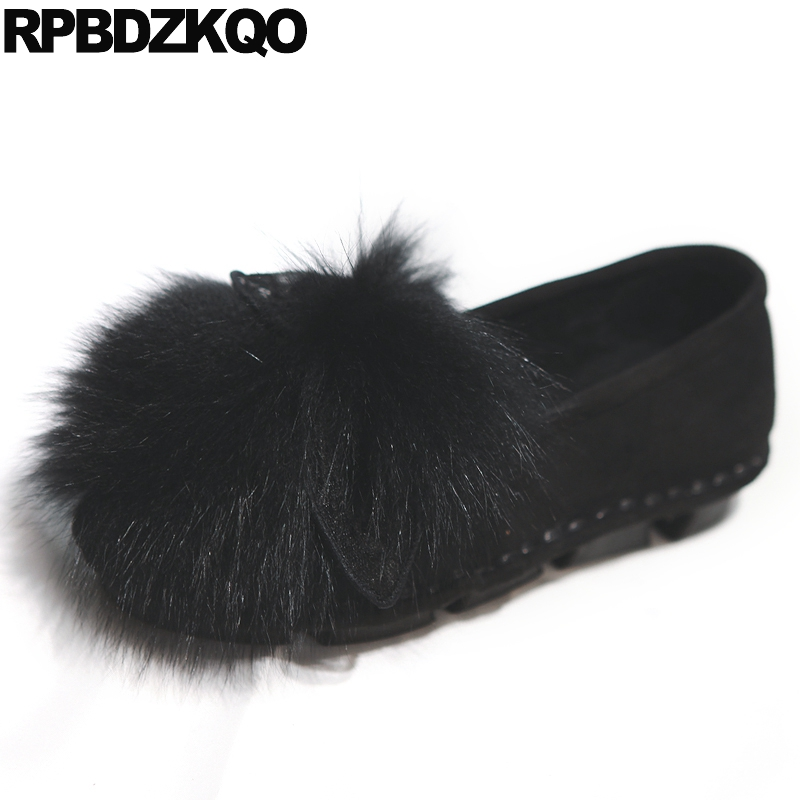 Flats Moccasins Cute Ladies Beautiful Shoes Slip On Round Toe Fur Bow Black Suede Unique Women Fashion Latest Drop Shipping
