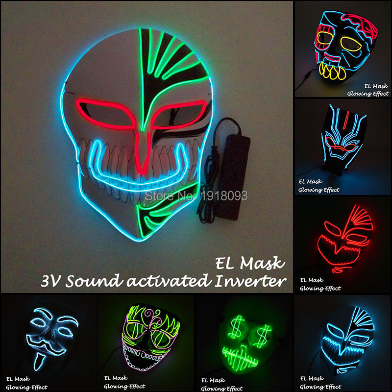 EL Product EL Wire Mask with Sound activated Light Up Glowing LED Strip Funny Mask Rave Costume Mask for Horror Party Decor steady on inverter el wire glowing hip hop cap led strip light up glowing product make up party glow props for party supplies