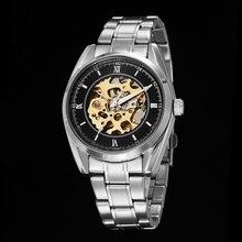 2016 Новый Черный Мужчины Скелет Часы Из Нержавеющей стали, Антикварные Стимпанк Повседневная Автоматическая Скелет Механические Часы Мужчины