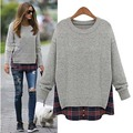 Plus Size 4XL 5XL Fake Two Piece Plaid Sweaters Women Autumn Winter Knit Loose Long Sleeve Sweater Casual Warm Clothes