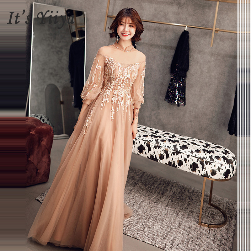 Evening     Dress   2019 Long Elegant High Collar Three Quarter Sleeve Prom   Dresses   Plus Size Women Party   Dress   Robe De Soiree E525