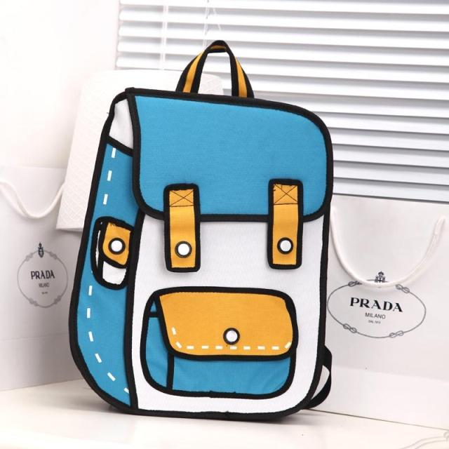 New Unisex 3D Jump Style 2D Drawing Cartoon Paper Bag Comic Backpack  Messenger Tote Fashion Cute Student BagsBolos