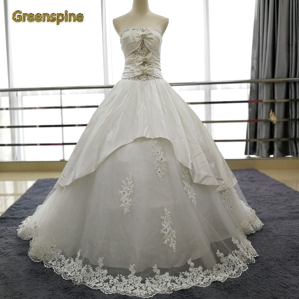 Crystal Wedding Gown: Greenspine Princess Satin Wedding Dresses 2019 Strapless