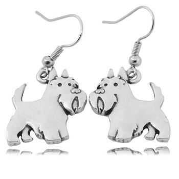 New 3D Aberdeen Scottish Terrier Dog Earring Long Big Silver Color Earing Face Drop Earrings For Women Men Brincos Girls Gifts image