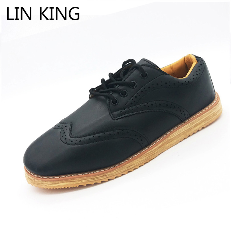 LIN KING Fashion Pu Leather Men Casual Shoes Comfortable Lace Up Male Brogue Shoes Retro Low Top Office Dress Business Shoes d lin d154455