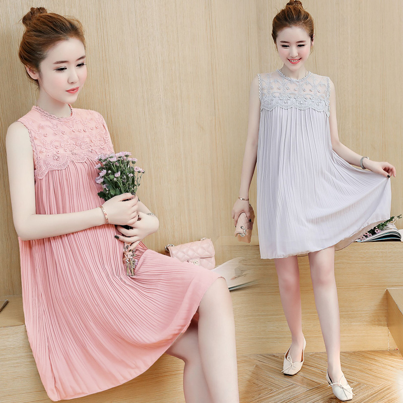 Chiffon Maternity Dress Summer Fashion Lace Clothes for Pregnant Women Sweet Korean Loose Sleeveless Pregnancy Clothing C257