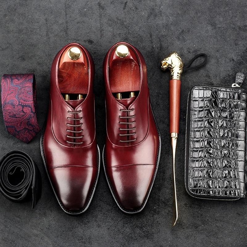 Do Apartamentos Homem Masculinos Noiva Vaca Escritório Formal Oxfords Moda Preto Ac64 Dos marrom Genuíno Sapatos Homens Italianos Desenhador Vestido Redondo Dedo Couro De Pé HqfnIxw6Hd