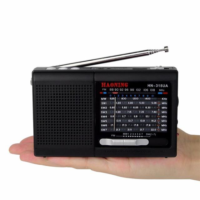 Portátil FM/MW/SW Radio de Recepción de radio Grabadora de Radio Reproductor de Música MP3 con Batería Recargable Negro Y4403A