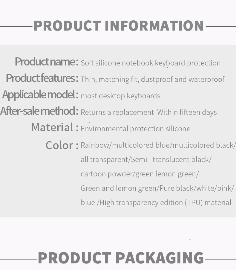 Waterproof Laptop Keyboard protective film Keyboard cover dustproof film  silicone Universal Silicone Desktop Computer skin cover