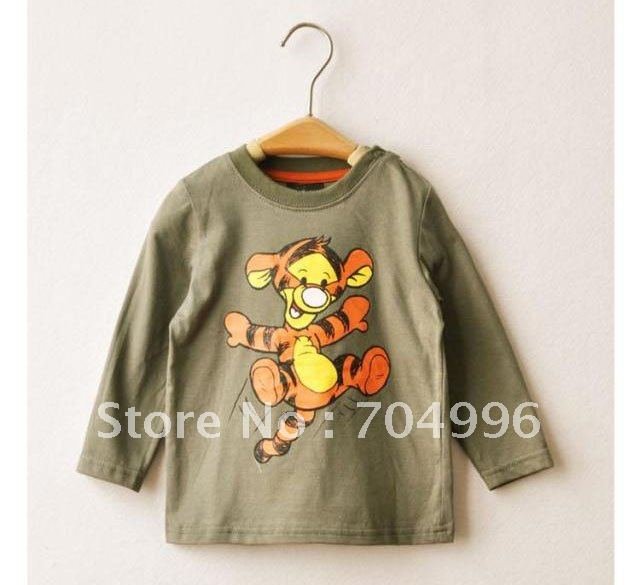 Free shipping wholesale army green tigger t shirt boys for Kids t shirts in bulk