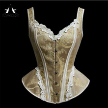 c759e49f90 TOPMELON Victorian Corset Elegant Steampunk Overbust Corsets Lace Floral  Pattern Bustier Tops Slimming Costume for Women