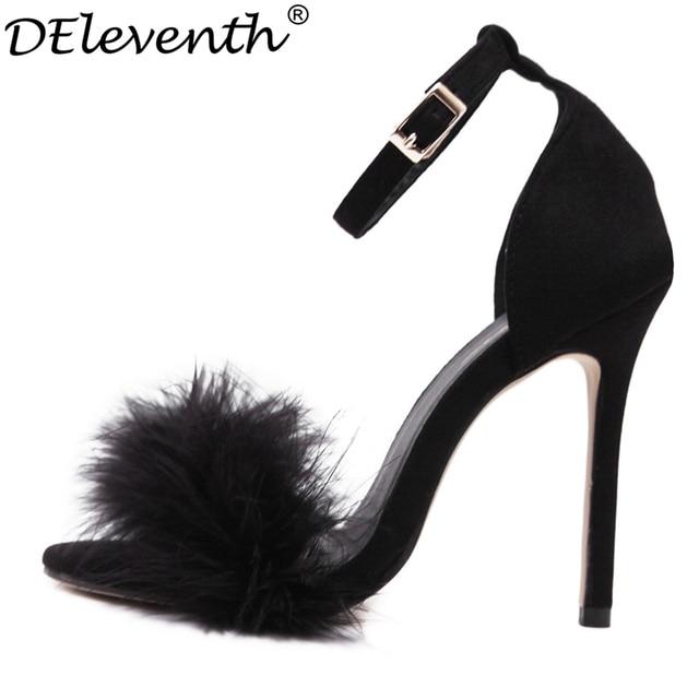 DEleventh Gladiator Woman Summer Shoes Gladiator DEleventh High Heeled Sandals 2017 Fur e6d290
