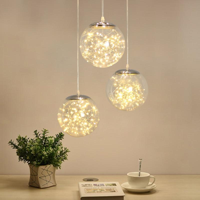 Norbic Creative Clear Glass Ball Pendant Lighting Fixture Home Deco Dining Room Loft Glowworm LED String Pendant Lamp