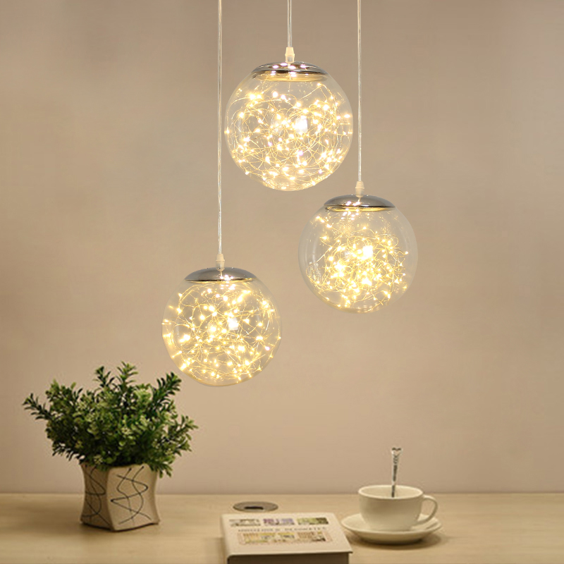 Norbic kreative klarglas ball anhänger leuchte home deco esszimmer loft glowworm LED String anhänger lampe