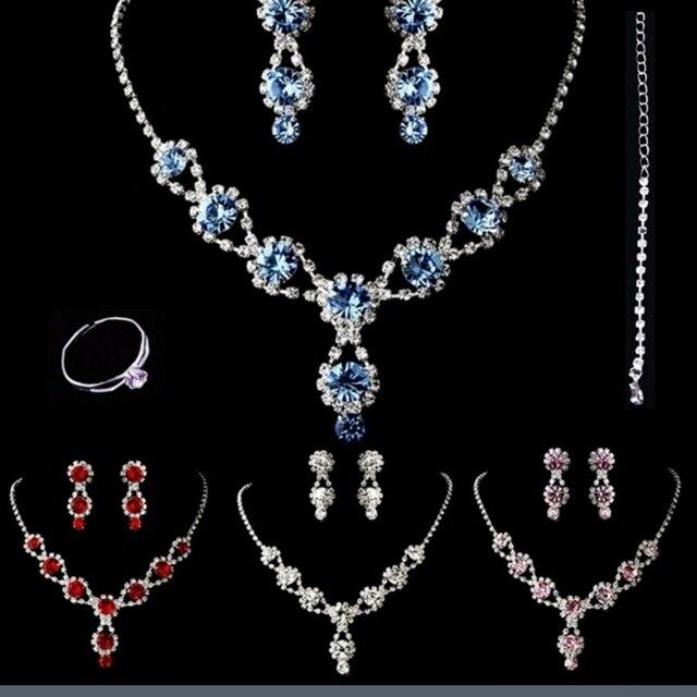 StoneFans Womens Handmade Rhinestone Clear Crystal Tear Drop Earrings  Elegant Necklace Bridal Wedding Jewelry Set 4 Colors Sets 9f525caac873