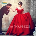 Envío gratis vestido de noiva tallas grandes renda elegante mullida bata de pelota satén rojo de la boda vestido nupcial del vestido noiva vestido