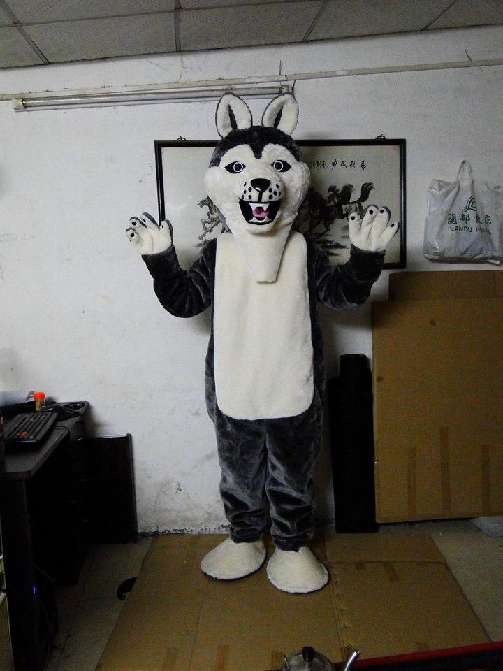 Offre spéciale caractère adulte belle gris Husky mascotte Costume fantaisie robe Halloween costume de fête