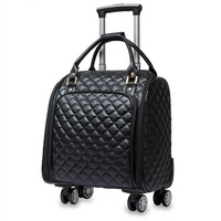PU fashion trolley case,Korean portable trolley bag, men and women travel boarding bag 16 inch,luggage business travel luggage