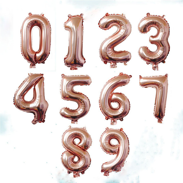 32 Inch Rose Gold Number Foil Balloons Digit Air Ballons Happy Birthday Wedding Decorations Party
