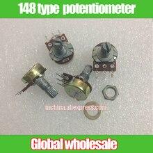 10 pces 148 tipo único potenciômetro comum a50k a100k a200k/potenciômetro punho 15mm
