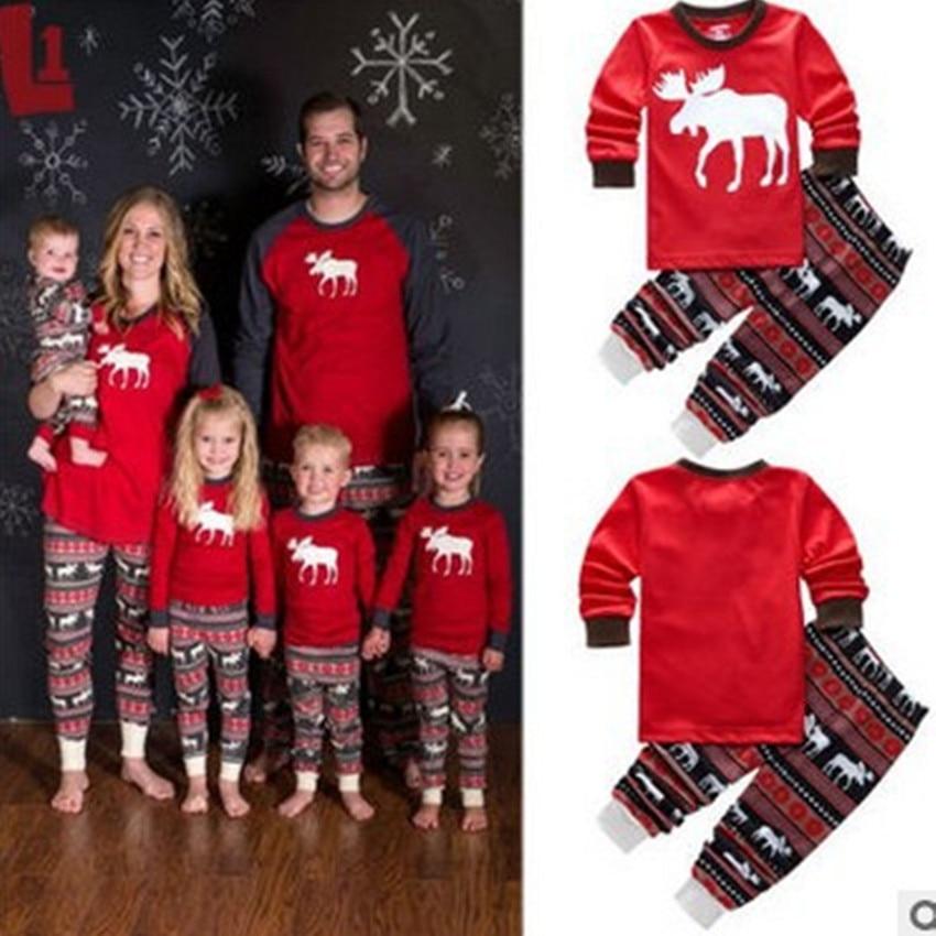 New Christmas Reindeer Family Pajamas Set Dad Mon Kids Winter Sleepwear Top and Trousers Parent-child Cotton Pajamas KS09