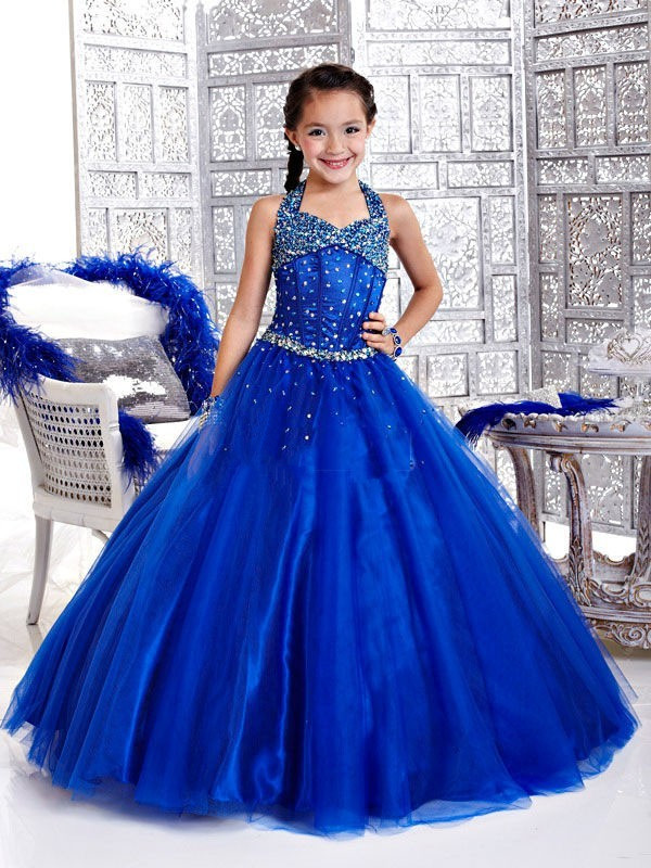 Luxury Royal Blue Bling Bling Crystal Tulle Flower Girls' Dresses Girls' Pageant Dress Princess Holidays Dress Custom Size 2-14