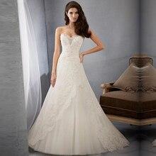Vestidos Novia Custom Made Ivory Beading Neckline Appliques Lace A Line Wedding Dress Sweetheart Wedding Gown bride Dresses