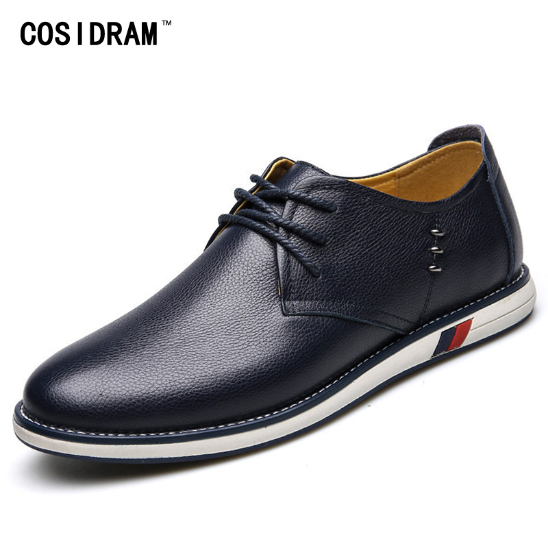 New 2017 Split Leather Men Casual Shoes British Style Men Shoes Spring Autumn Lace-Up Rubber Sole Flats Male Footwear RMC-728