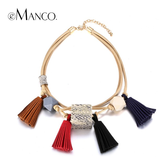 eManco Popular Now Ethnic Bohemia Colorful Tassel Multi-Layer Geometric Choker Necklace Women Wood Wax Rope Brand Jewelry