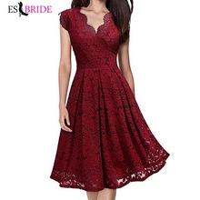 Red Sexy V-neck suknie wieczorowe krótka suknia wieczorowa Party elegancka suknia 2019 Backless sukienki na specjalne okazje ES2558 tanie tanio Prom NONE Poliester Koronki -Line Bez rękawów Kolan Naturalne Kwiatowy Print ESBRIDE