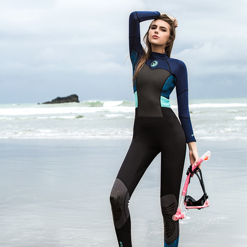 c475632b0d Aliexpress.com   Buy Hisea 1.5mm women neoprene wetsuit color stitching  Surf Diving Equipment suit clothing long sleeved one piece soft Elastic  Warm from ...