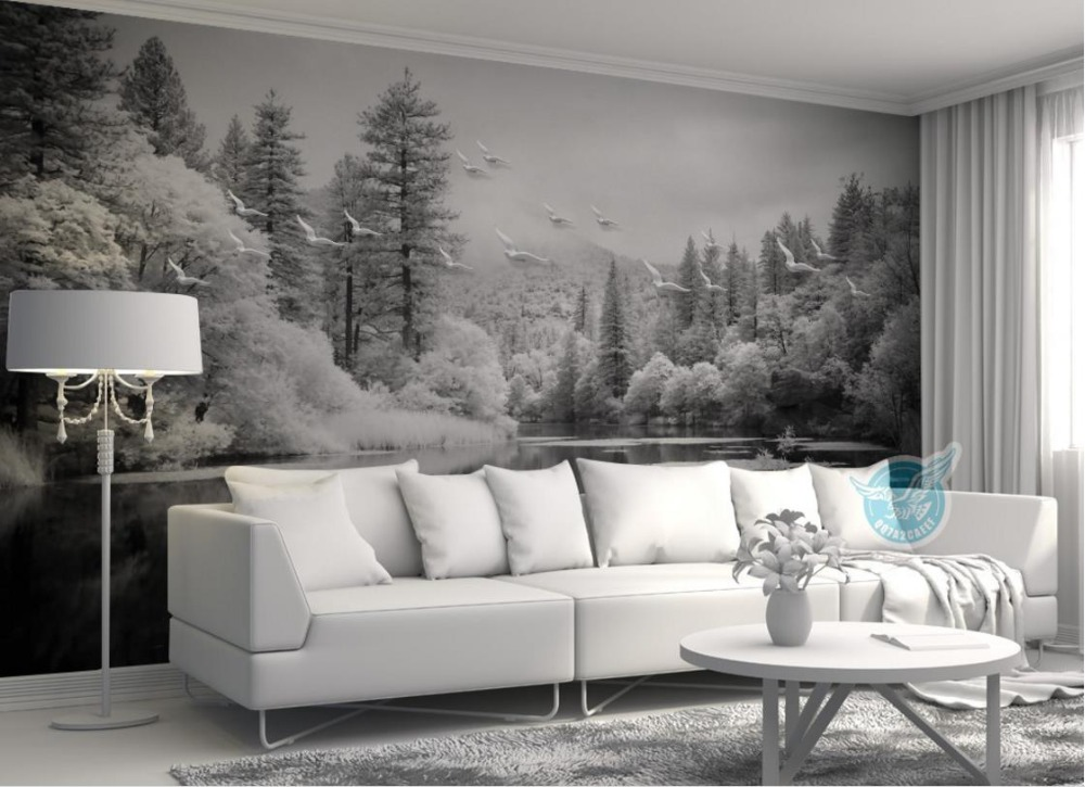 European style Black and white papel de parede Forest lake landscape wallpaper for walls 3 d Living room bedroom Decorative large mural papel de parede european nostalgia abstract flower and bird wallpaper living room sofa tv wall bedroom 3d wallpaper