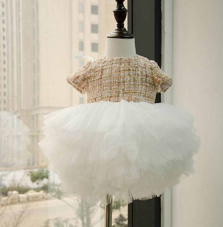 2016 Autumn New Baby Girl Party Dresses Woolen Fluffy Dress Soft Gauze Tiered Children Clothing 10101