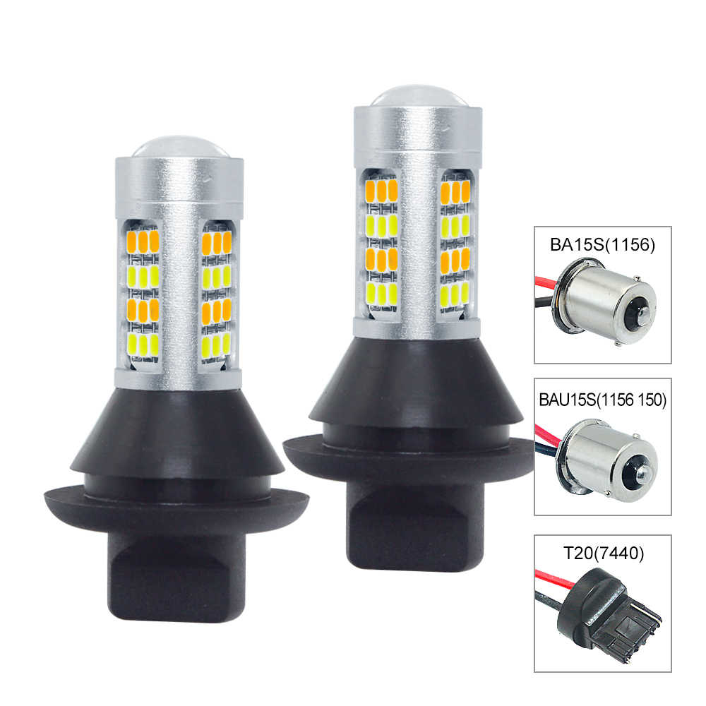 2pcs BA15S BAU15S 1156 T20 7440 LED Dual Color Car DRL Turn Signal Lamp 12V 42 SMD 2835 Auto Daytime Driving Light With Decoder