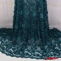 2019 High Quality African Lace Fabric 3D Flowers With Beaded Green Lace Fabric New Design Nigerian Tulle Lace Fabric GD2290B 2