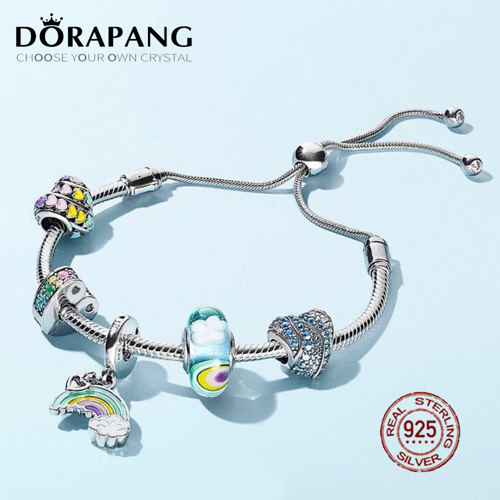 DORAPANG 100% 925 Sterling Silver Bracelet Suit 2018 New Set Glitter Instant Slide Shine MOMENTS SLIDING Bracelet DIY Gift dorapang 100