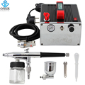 OPHIR Body Paint 0.3 mm Dual-Action Airbrush Kit with Air Compressor for Nail Art/Temporary Tattoo/Makeup Hobby Paint_ AC091+005