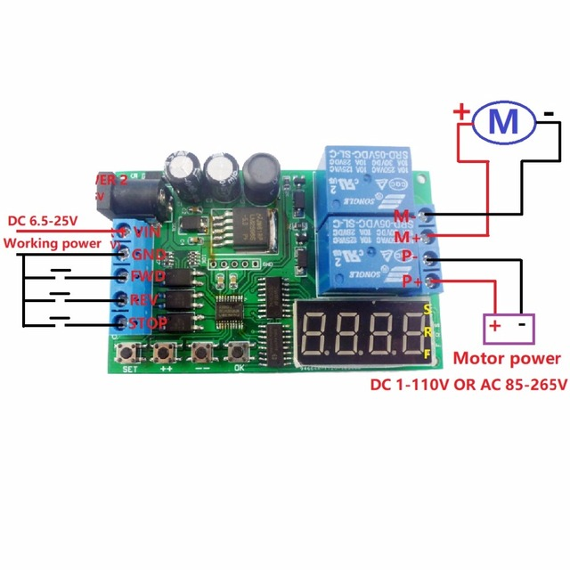 US $10 49 30% OFF|5V 9V 12V 24V DC/AC Motor Controller Relay Board Forward  Reverse Control Automatic Timing Delay Cycle Limit Start Stop Switch-in