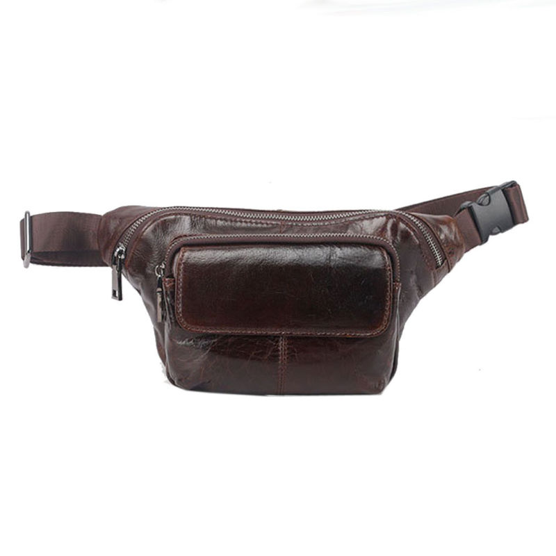 Men Oil Wax Genuine Leather Cowhide Shoulder Sling Chest Bag Hip Bum Belt Pouch Fanny Pack Waist Wallet Bag DropShipping цена