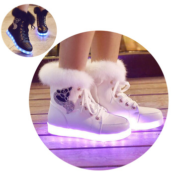 2016 New Luminous Shoes Women High Top Rabbit Fur Quilted Boots USB Rechargeable Led Shoes Black Winter Snow Shoes