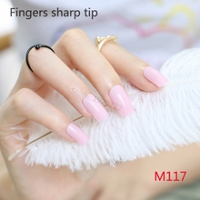2017 24pcs Explosion models fashion Long section Square head candy false nails decoration Tender pink M 117