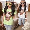 Лето футболка для девочки Camiseta infantil Девушки футболка Дети бисером футболки девушки Футболки вышивка футболка все-матч