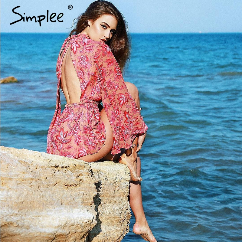 Simplee Backless Lace Up Floral Women Jumpsuit Romper 2018 Female Print Bodysuit Sexy Summer Overalls Playsuit Catsuit Leotard