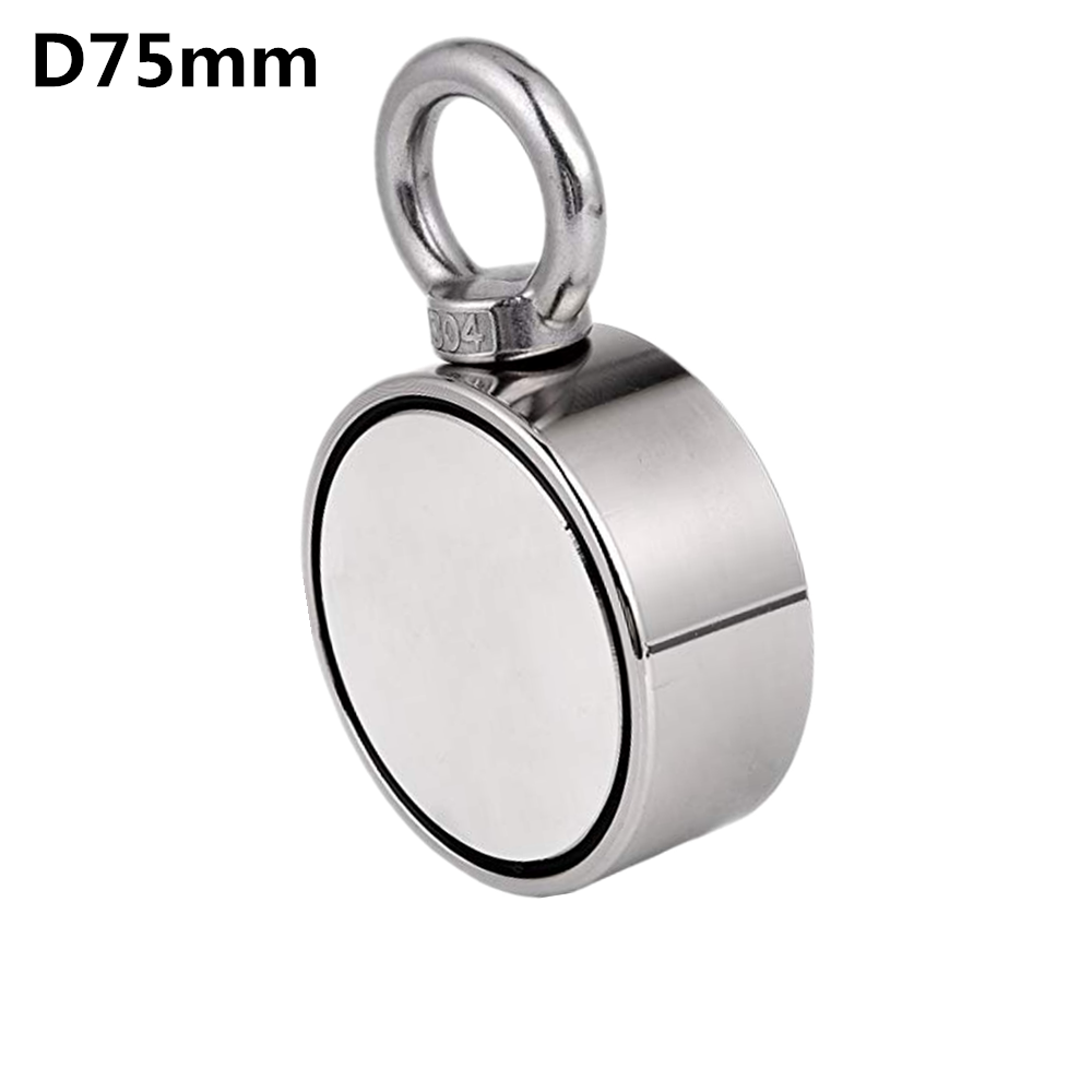 D75mm imán de neodimio súper poderoso agujero de doble cara salvar pesca imán 300 kg anillo Circular gancho permanente soporte de acero - 2