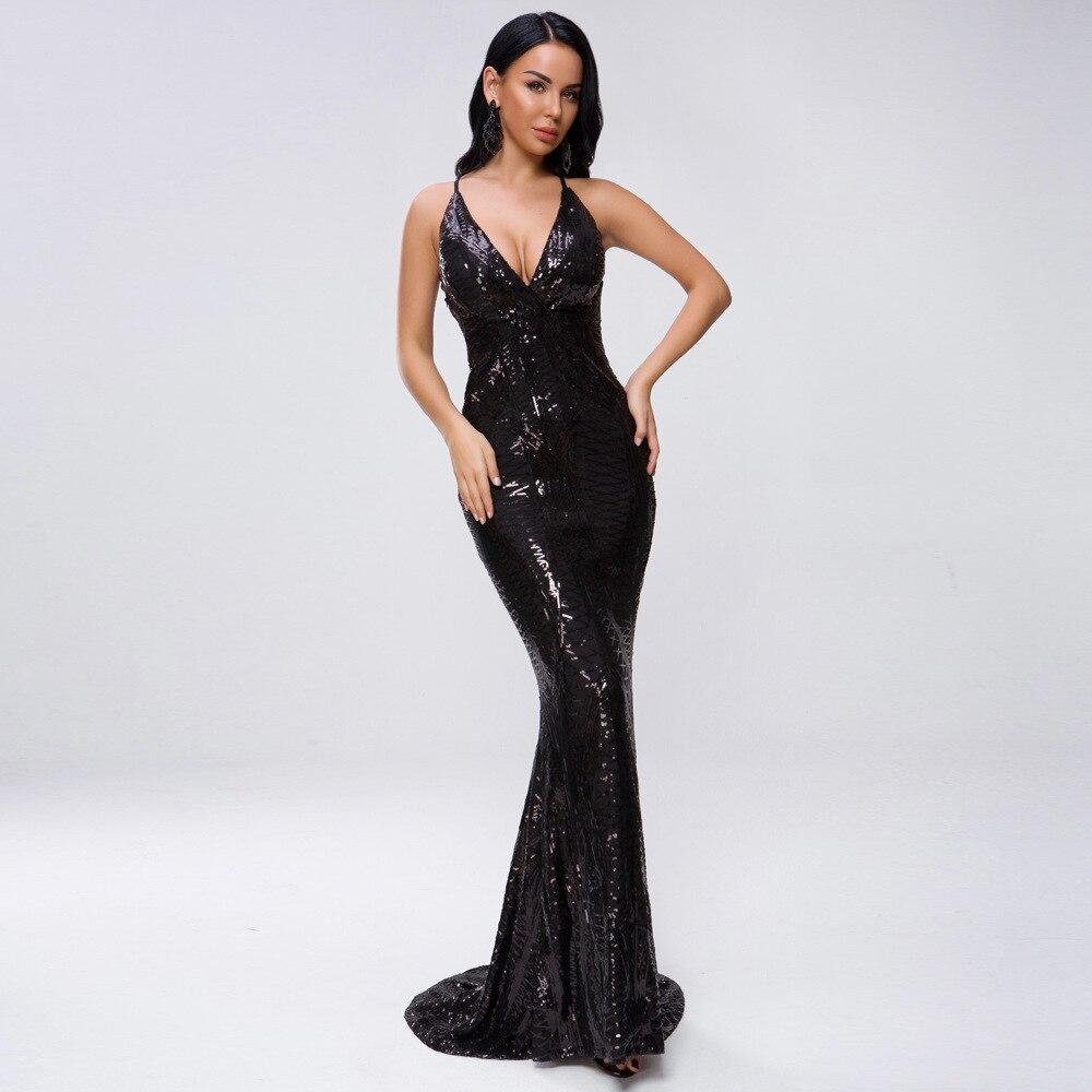 Meldel Fashion Sexy Deep V-neck Sleeveless with Fringe   Evening     Dresses     Evening   Prom   Evening     Dresses   Long Sequins   Dress   Vestidos