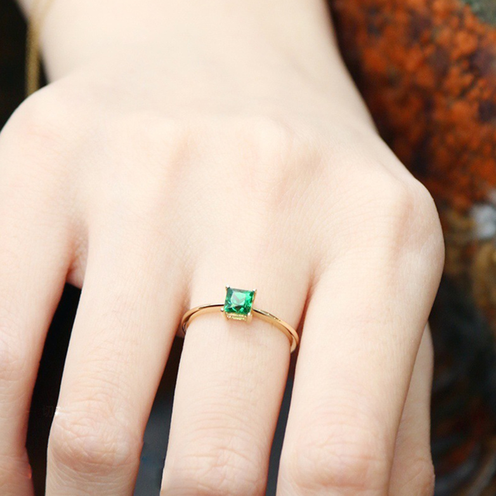 Women Jewelry Olive Green Stone Rings Gold Color Cubic Zircon Wedding D30