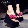 Increased 12cm Summer fashion handmade flowers high heel flip flops slip slope with thick Korean female pinch beach sandals