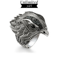 Big Eagle Cocktail Rings Black Zirconia Thomas Style 925 Sterling Silver Creole Fashion Jewelry for Women Men Gifts 2018 New