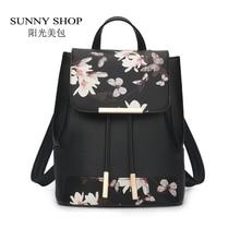 Sunny shop новый цветок женщины drawstring рюкзак школа моды леди случайный печати рюкзак высокое качество pu кожаный мешок школы